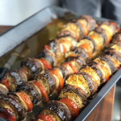 Hackfleisch Buletten mit Aubergine, Tomate & Zwiebel aus dem Ofen (Helal)